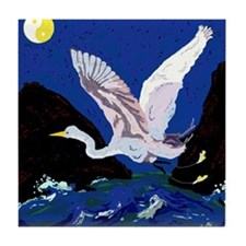White Crane Spreads Its WIngs Tile Coaster