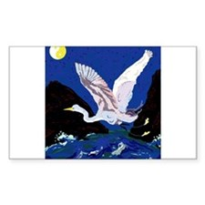 White Crane Spreads Its WIngs Decal