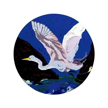 """White Crane Spreads Its WIngs 3.5"""" Button"""