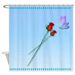 Shower Curtain Butterfly and Roses Shower Curtain