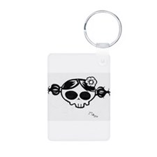 girly skull black and white Keychains