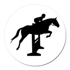 Hunter Jumper Over Fences Round Car Magnet