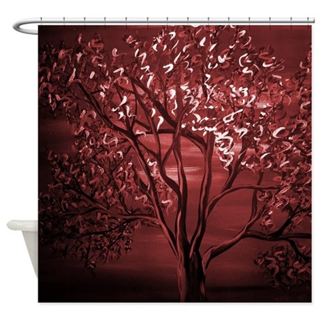 Maroon Abstract Tree Shower Curtain By Markmoore