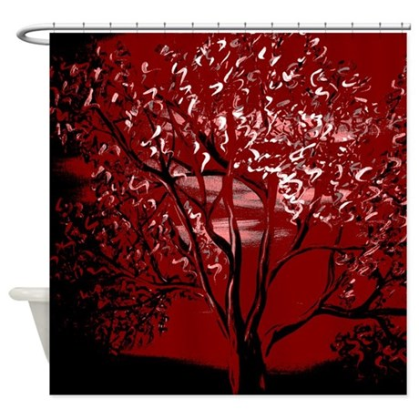 Red Tint Tree Shower Curtain By Markmoore
