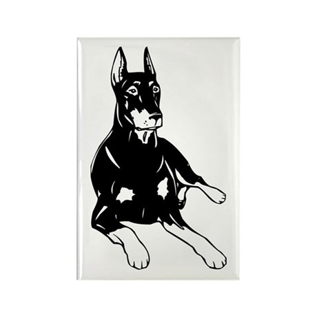 DOBERMAN LAYING DOWN Rectangle Magnet (100 pack)