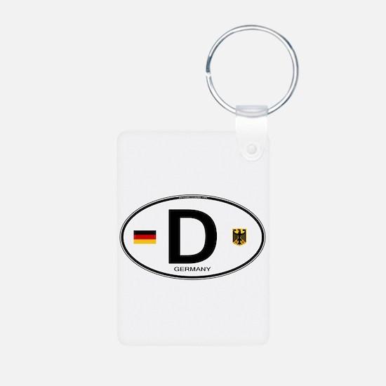 Germany Euro Oval Aluminum Photo Keychain