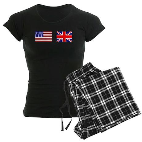 USA and UK Flags for Dark Women's Dark Pajamas