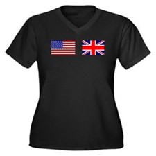USA and UK Flags for Dark Women's Plus Size V-Neck