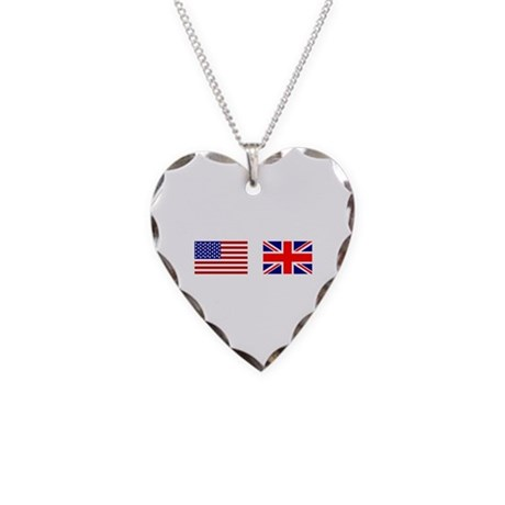 USA UK Flags for White Stuff Necklace Heart Charm