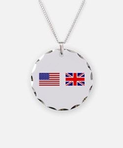 USA UK Flags for White Stuff Necklace