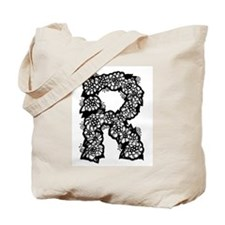 Flower Monogram R Tote Bag