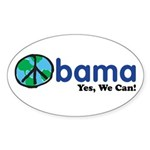 ObamaYesWeCan.png Sticker (Oval)