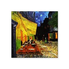"Van Gogh Cafe Terrace At Night Square Sticker 3"" x"