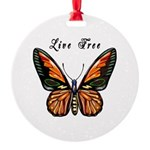 Butterfly Live Free Round Ornament