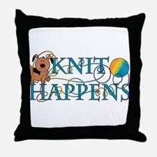 Knit Happen (Dog) Throw Pillow