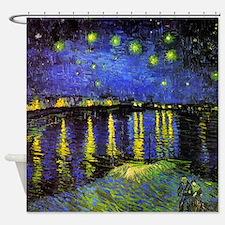 Van Gogh Starry Night Over The Rhone Shower Curtai