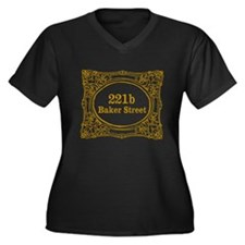 221b Baker Street Women's Plus Size V-Neck Dark T-