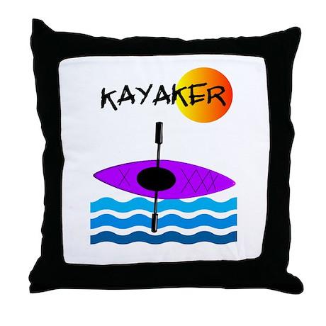 Kayaker 1 purple.PNG Throw Pillow