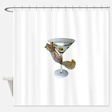 Martini Squirrel Shower Curtain