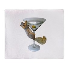 Martini Squirrel Throw Blanket