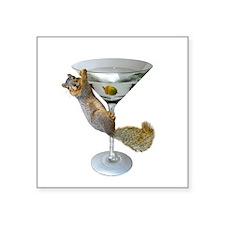 """Martini Squirrel Square Sticker 3"""" x 3"""""""