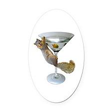 Martini Squirrel Oval Car Magnet