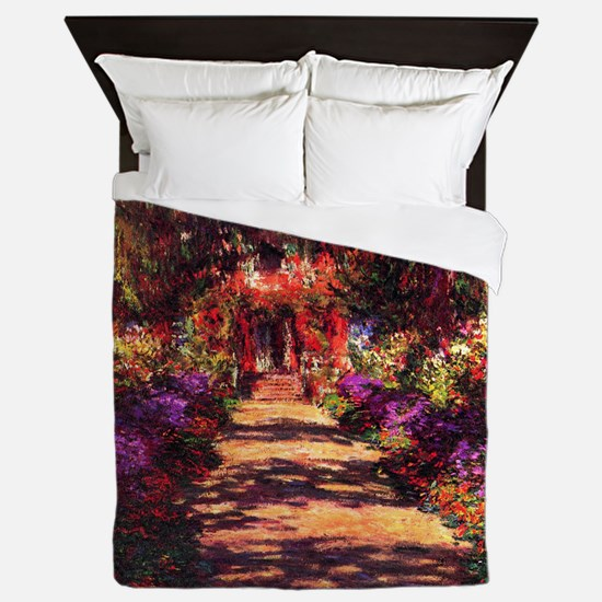 Path In Monet's Garden Queen Duvet