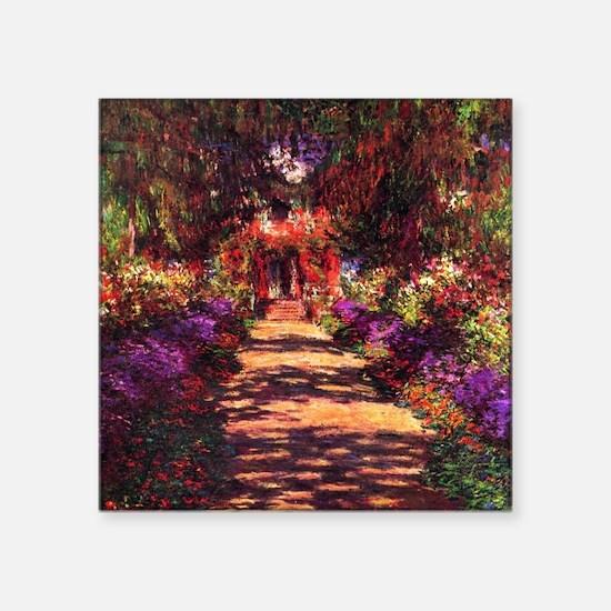 """Path In Monet's Garden Square Sticker 3"""" x 3"""""""