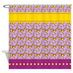 Yellow and Purple Butterflies Shower Curtain