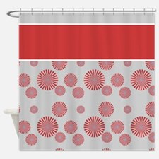 Red Star Burst Shower Curtain