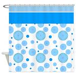 Blue Star Burst Shower Curtain