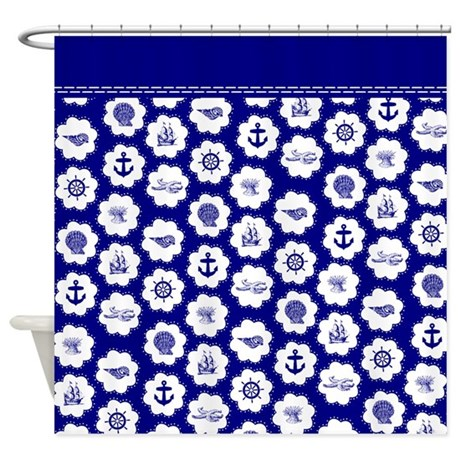 Navy Blue Sea Shower Curtain By InspirationzStore