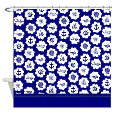 Blue And White Beach Shower Curtain By InspirationzStore