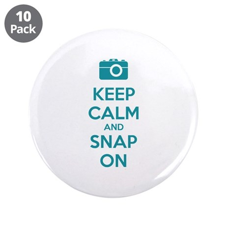 """Keep calm and snap on 3.5"""" Button (10 pack)"""
