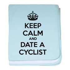 Keep calm and date a cyclist baby blanket