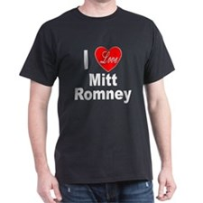 I Love Mitt Romney (Front) Black T-Shirt