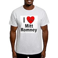 I Love Mitt Romney (Front) Ash Grey T-Shirt