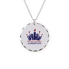 Fantasy Football Champ Crown Necklace Circle Charm