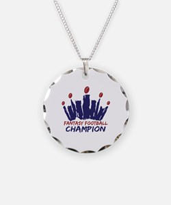 Fantasy Football Champ Crown Necklace Circle Charm