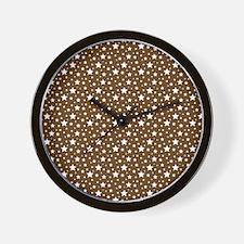 Brown Stars Wall Clock