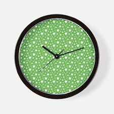 Green Stars Wall Clock