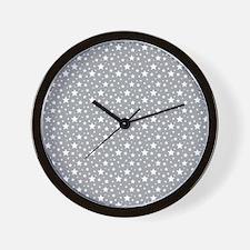 Grey Stars Wall Clock