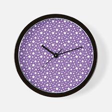 Purple Stars Wall Clock