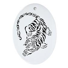 Tribal Tiger Design Oval Ornament