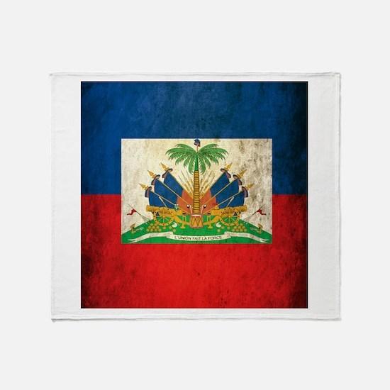 Grunge Haiti Flag Throw Blanket