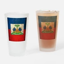 Grunge Haiti Flag Drinking Glass