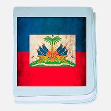 Grunge Haiti Flag baby blanket