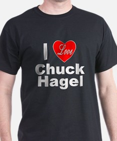 I Love Chuck Hagel (Front) Black T-Shirt