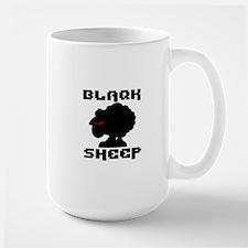 Transparent blaQk Sheep Logo Large Mug