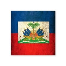 "Grunge Haiti Flag Square Sticker 3"" x 3"""